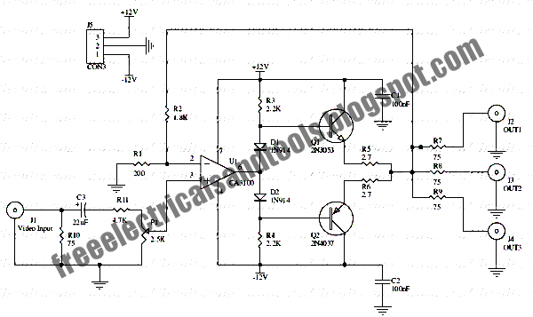 free schematic diagram  video distributor amplifier circuit