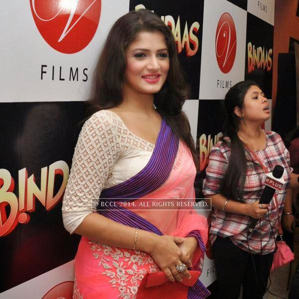 Srabanti during the premiere of bengali film Bindaas at Navina in Kolkata.