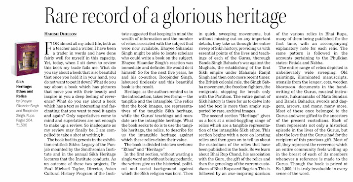 Review of Sikh Heritage: Ethos & Relics by Dr Harish Dhillon