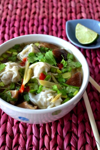 vietnamese pho noodle soup with wontons