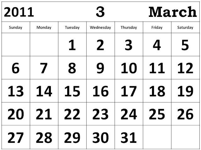 march calendar 2011. March Calendar 2011 big fonts