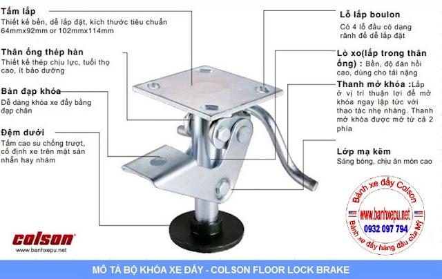 Bộ khóa sàn xe đẩy Colson Mỹ 6002x5 ( Colson floor lock/ stopper ) có tổng chiều cao khi khóa 159mm