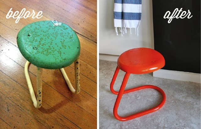 Spray-painted modern vintage milking stool