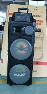 Loa SOUNDBOX S10B (Tặng 2 micro không dây) - 2 loa bass 2.5 TẤC ĐÔI - Kết Nối Wifi hát karaoke trên loa, màn hình cảm ứng.