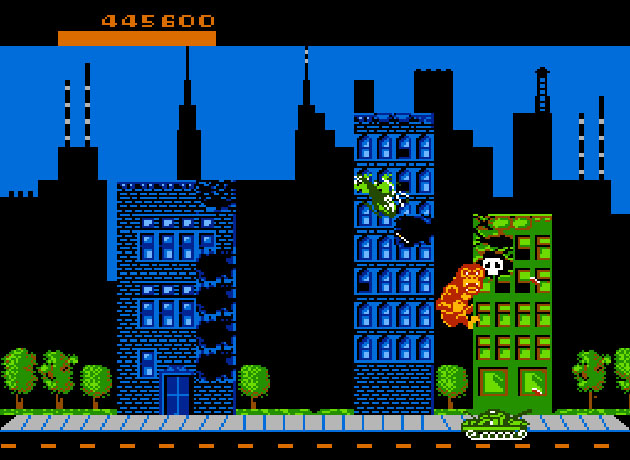 A caveira é sinal de comida envenenada no game Rampage