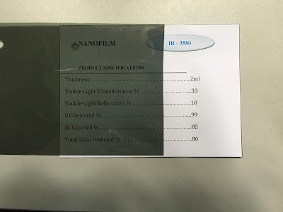 Mẫu phim cách nhiệt IR 3580 Nano Film