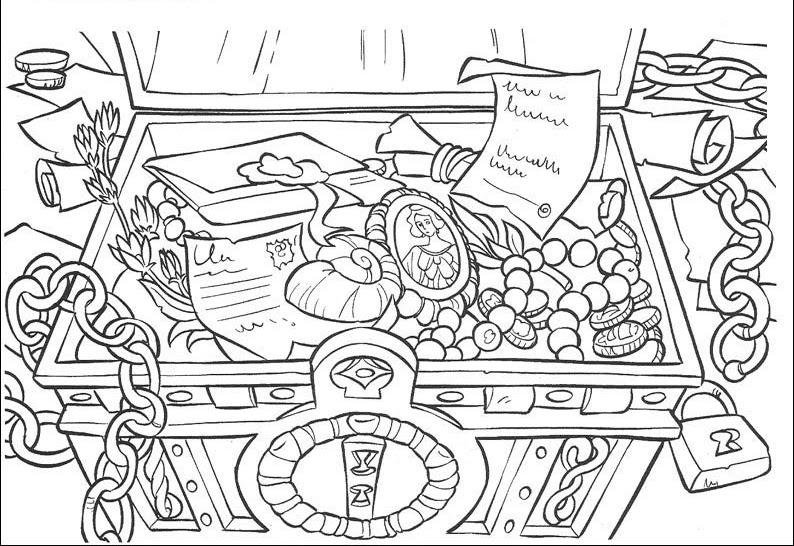 為孩子們的著色頁: Cofre del tesoro abierto para colorear