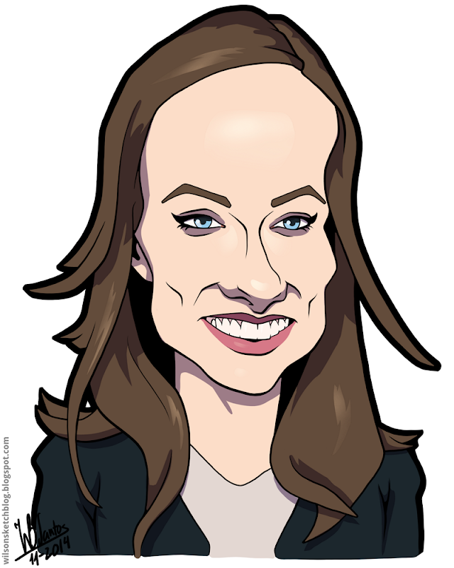 Cartoon caricature of Olivia Wilde.