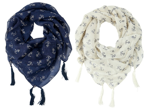 Version Sud Anchor Print Nautical Silk Scarf