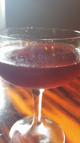 Wildwood Restaurant, my final cocktail, the Blood and Sand with dewars, cherry heering, sweet vermouth, orange juice.