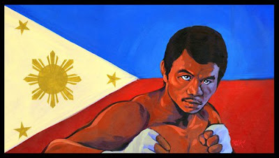 "Manny Pacquiao Giclee  26"" x 16"" 2010 $250 ($200 unframed, original piece available for $1,600 - please inquire for more information)"