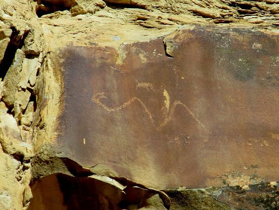 Horned snake petroglyph