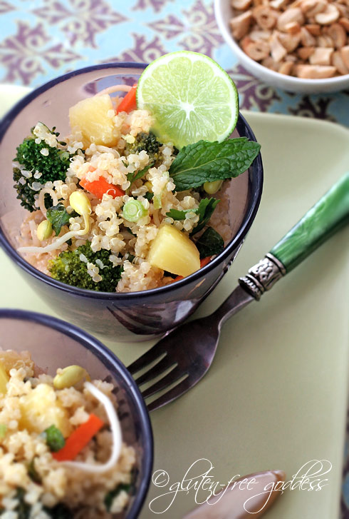 Quinoa salad with pineapple and broccoli and mint