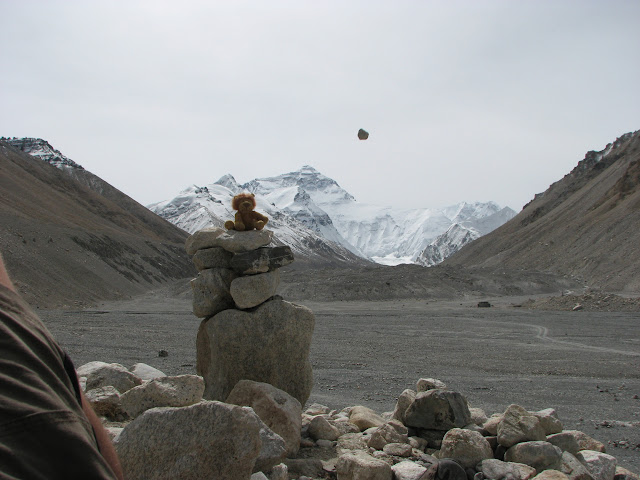 Everest in the background, stone about to hit my mascot in teh foreground!