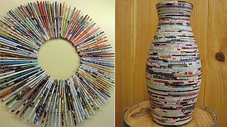 interesting home d cor stuff made from recycled magazines