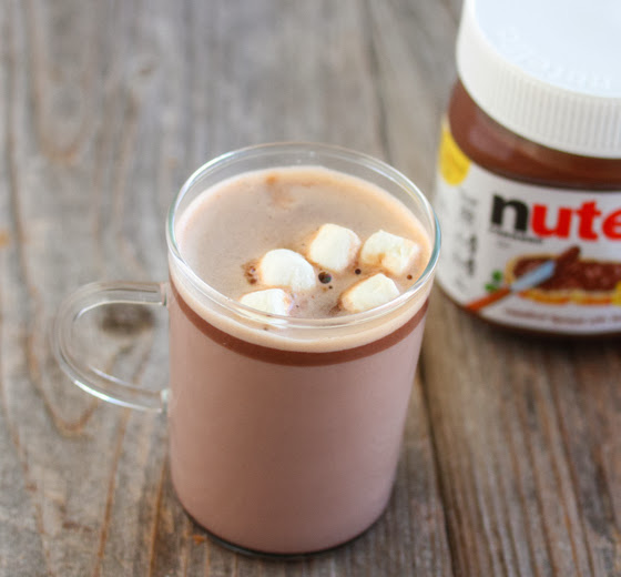 overhead photo of a mug of nutella hot chocolate