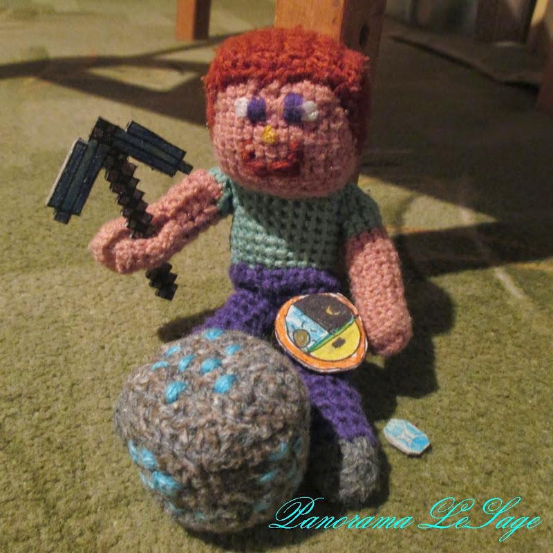 steve minecraft szydełkowe zabawki creeper blok diamentów handmade kilof miecz figurka minecraft dynia na głowę