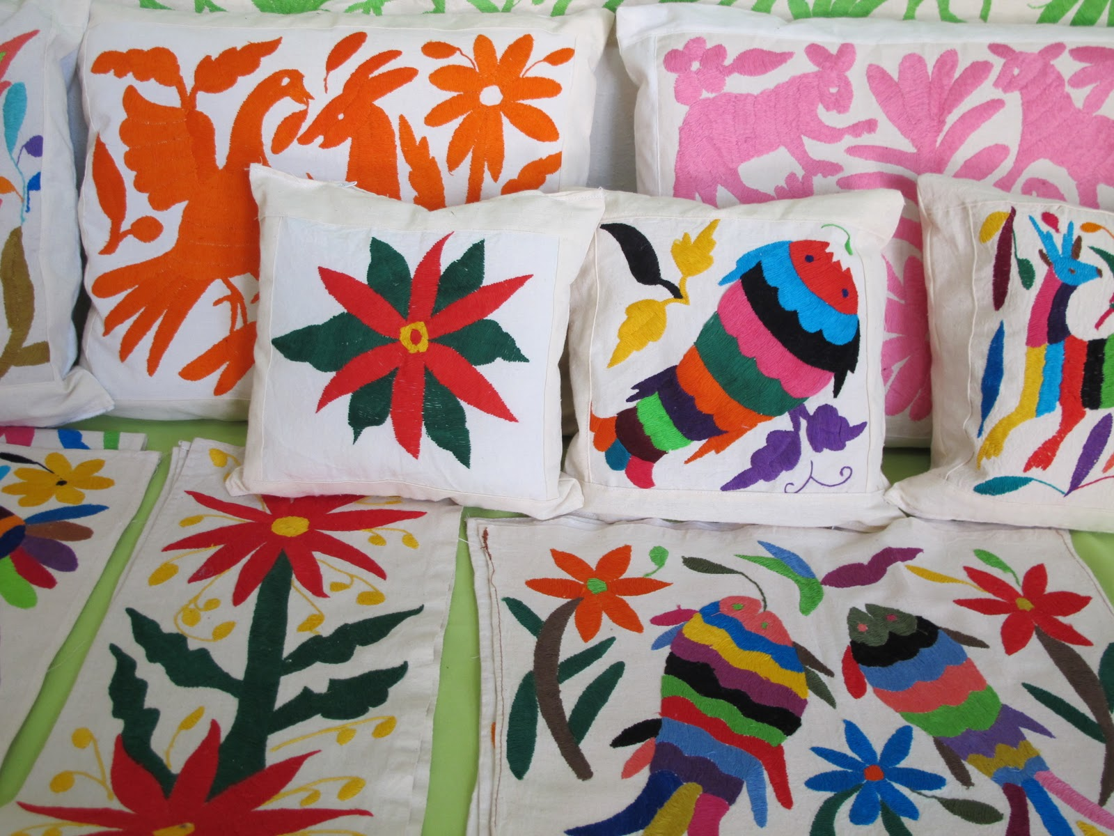 The Otomi villages in the state of Hidalgo in the Tenango de Doria region  are well known for their embroidered textiles. The designs are drawn on  muslin ...