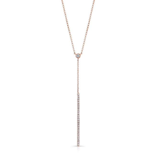 14k Rose Gold White Diamond Dangling Bar Necklace by MK Diamonds
