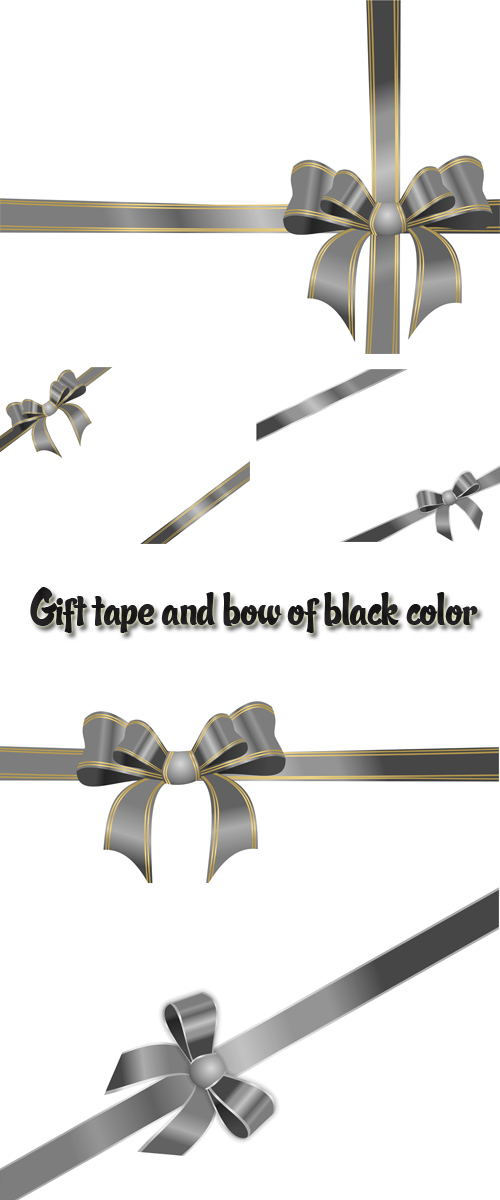 Stock: Gift tape and bow of black color