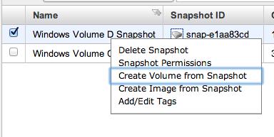 create volume from snapshot