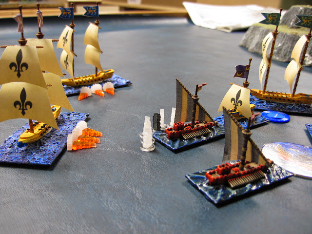 The Corsairs make their way around the flank but fail to hit a War Galley.