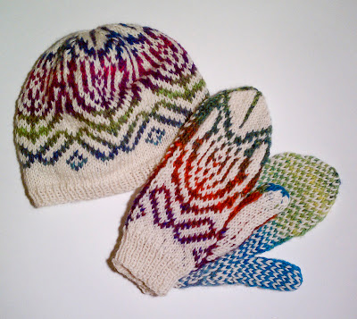 Chakra & Mittens in Blue/Turq/Red/Pink