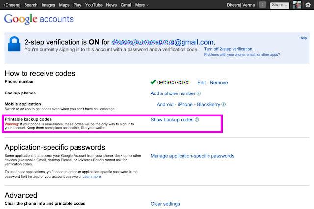 google 2-Step verification code list