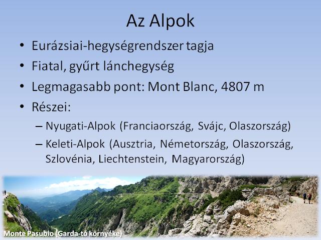 Az Alpok részei