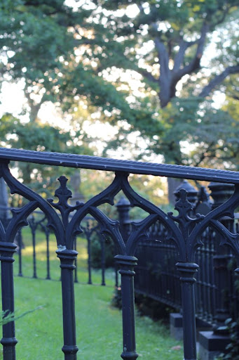 a wrought iron fence at Mt Auburn Cemetery