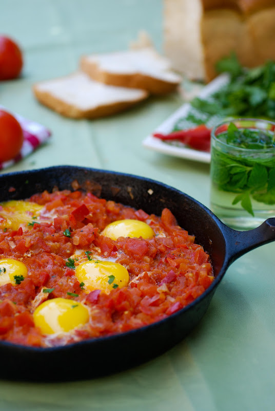 shakshuka, eggs with tomatoes