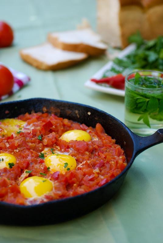 shakshuka, eggs with tomatoes
