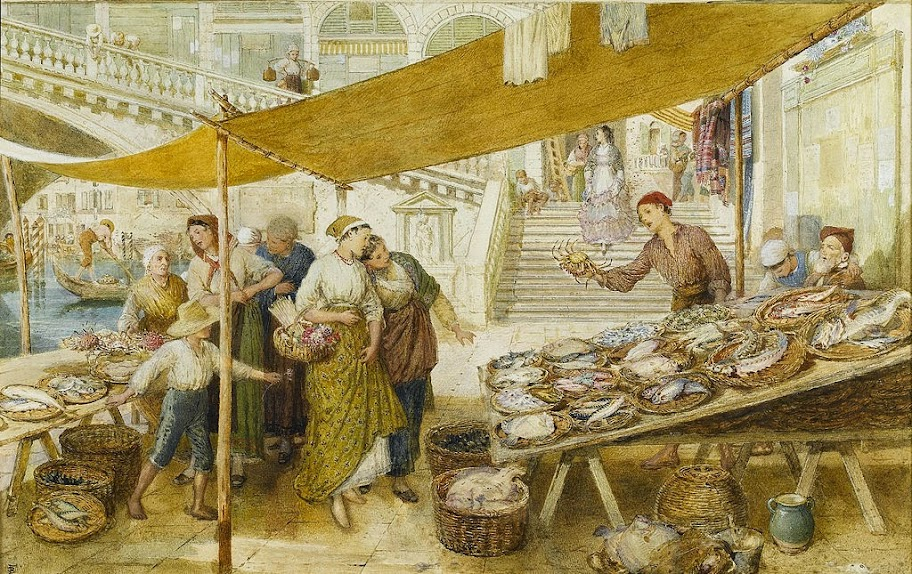 Myles Birket Foster - The fish market on the steps of the Rialto Bridge