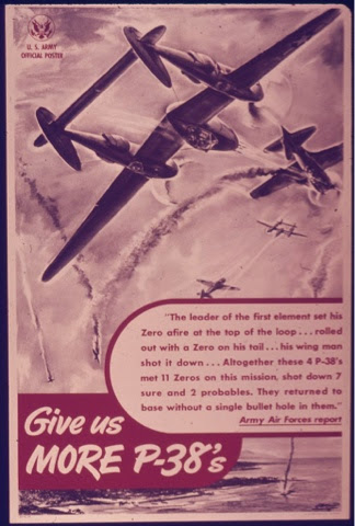 P38 Fighter 2nd world war poster