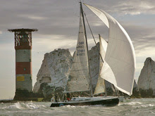 J/109 rounding famous Needles Lighthouse off Isle of Wight, England