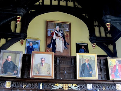 Formal hall at Oriel College in Oxford with the world's largest portrait of the Queen