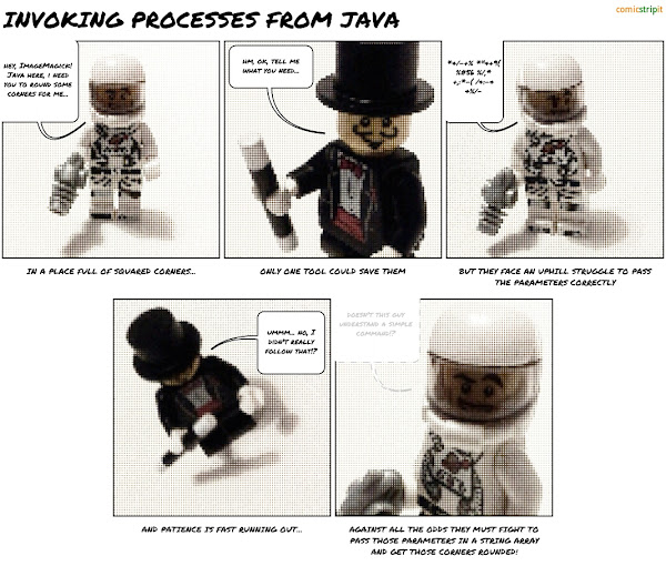Java invoking ImageMagick - a lego comic strip created with Comic Strip It! for Android