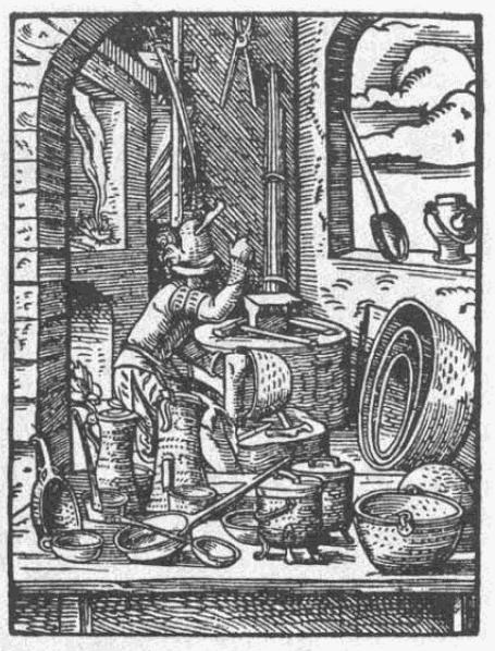 Kupferschmied, historische Darstellung aus dem 16. Jahrhundert. Quelle: Wickipedia