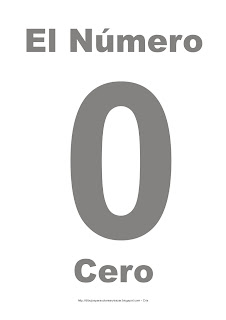 Lámina para imprimir el número cero en color gris