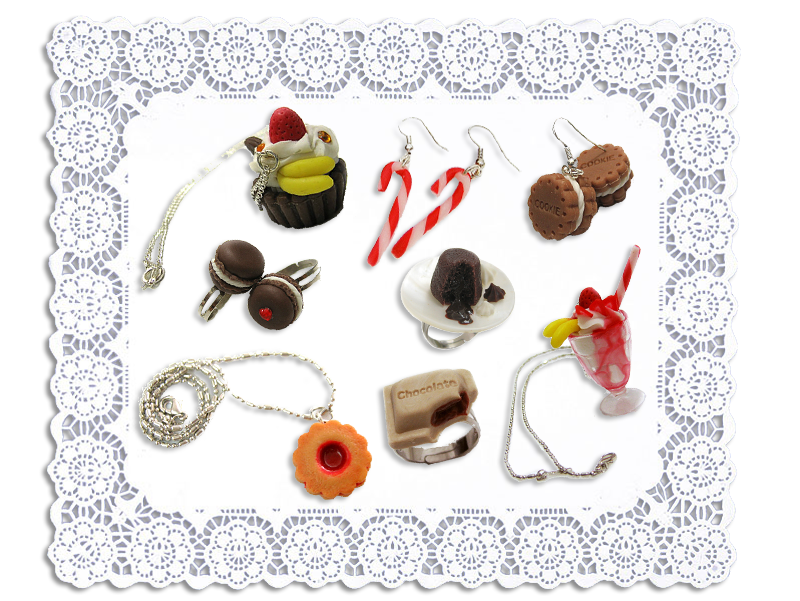 Ai Candies Macaron rings, Parfait necklace, Cookie earrings, Cupcake necklace, Candycanes earrings, Cookie necklace