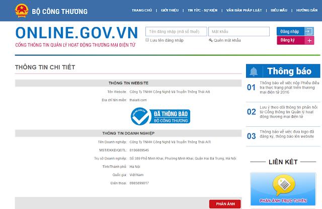 ThaiAiTi đăng ký thông báo thành công trên Online.gov.vn
