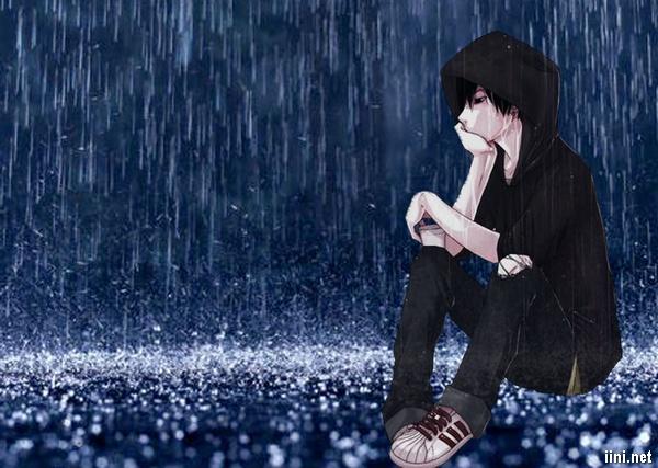 ảnh hoạt hình chàng trai ngồi buồn dưới mưa