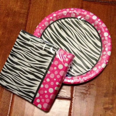 pink white and black zebra plates napkins