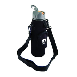 Nathan Neoprene Bottle Sling with Zippered Pocket, Black - image