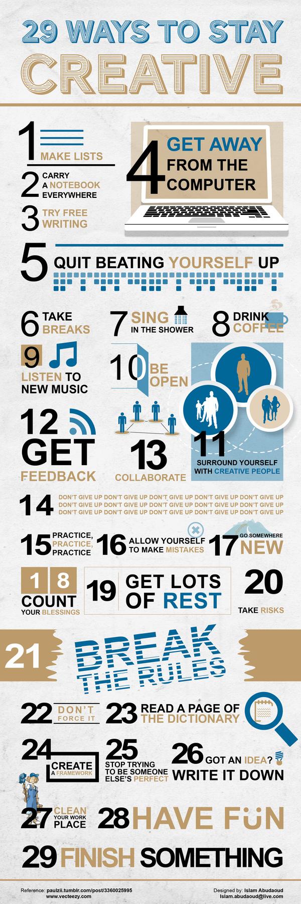 29 maneras de permanecer creativo