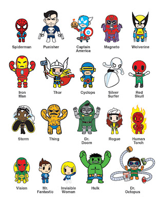 Marvel x Tokidoki Frenzies Mini-Figures Zipper Pulls Blind Box Series