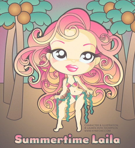 Summertime Laila Vector Illustration