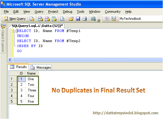Use Of Distinct Union And Union All In Sql Server Dattas Ramblings
