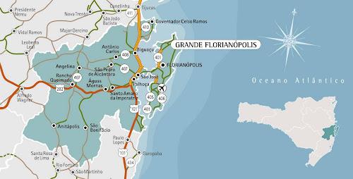 Mapa da região da Grande Florianópolis - Santa Catarina