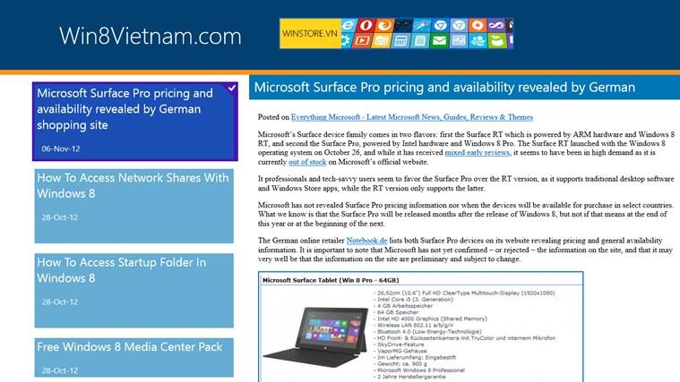 Win8Vietnam app - Ứng dụng đọc tin tức mới về Windows 8